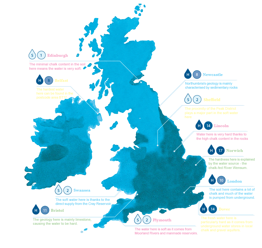 Uk Water map for the best So Pure coffee machine use BRITA